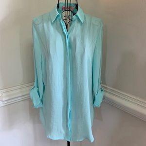 Candie's Semi Sheer Hidden Button Down Shirt NWT